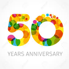 50 Years Old Multicolored Logotype Anniversary 20th Greetings