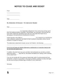 cease and desist letter slander awesome letters defamation slander