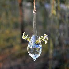 water drop shape hanging glass vase hydroponic plants garden flower pot cod