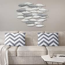 grey metal school of fish wall decor