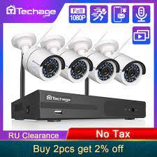 Techage 4CH 1080P kablosuz NVR CCTV sistemi ses kayıt 2MP su geçirmez açık  WIFI güvenlik kamerası sistemi Video gözetim kiti|Gözetim Sistemi
