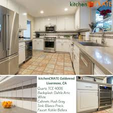 Accent Tiles For Kitchen Cool Tones Accent Tiles On The Backsplash And New Quartz