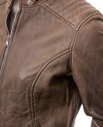 camrose womens brown real leather biker jacket