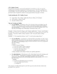 Examples Of An Outline For A Research Paper Apa Style Outline For Research Paper Apa Style Apa Research Paper Outline