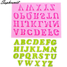 10PCS/SET <b>26 English Letters</b> Fondant 3D Molds Silicone Mold ...