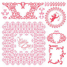 Invitation Boarders Wedding Invitation Set With Pink Floral Elements Frames Borders