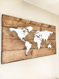 map wooden travel pin map rustic