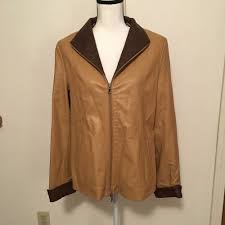 details about vera pelle women s er soft brown leather jacket women size 50 lg