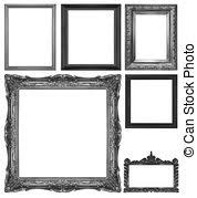 Old antique black frame isolated decorative carved wood stock photo