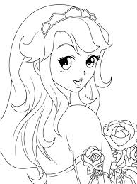 Small Picture Manga coloring pages girl with rose ColoringStar
