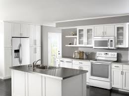 White Kitchen Decorating with Grey Kitchen Countertop Set with Contemporary  Kitchen Cabinet