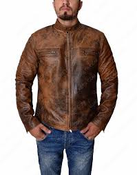brown distressed mens jacket mens distressed leather jacket
