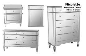hayworth mirrored 5 drawer chest