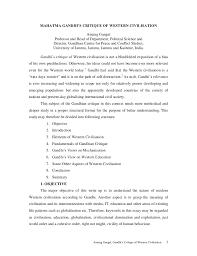 mahatma gandhi western civilisation pdf karo mahatma gandhi s critique of western civilisation