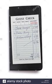 restaurant expense guest check concept of restaurant expense stock photo 58533818 alamy