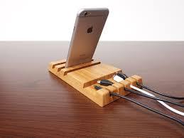 bamboo wood charging station