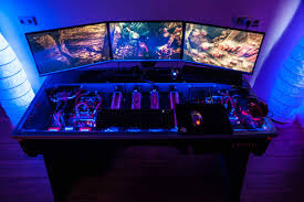 custom computer desk led