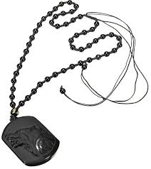 fashion natural handwork carved black obsidian wolf head pendant with beads necklace