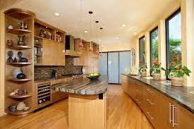 kitchen cabinets with alder wood clear finish bookmatched and flat doors