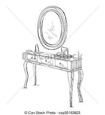 Image Makeup Table And Mirror Sketch Csp35163823 Can Stock Photo Table And Mirror Sketch Table And Hand Drawn Mirror For Make Up