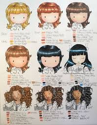 Copic Hair Color Chart Danas Skin And Hair Coloring Chart Prismacolor Pencils
