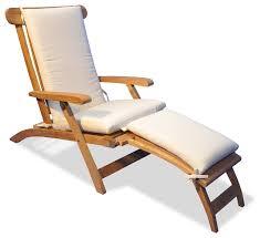 teak steamer chair chaise lounge with sunbrella cushion canvas canvas