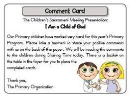 Comment Cards Comment Cards For Congregation During Sacrament Program Primary
