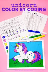 These unicorn coloring pages for grown ups look very detailed and interesting to color. Color By Coding Unicorn Coloring Page Left Brain Craft Brain