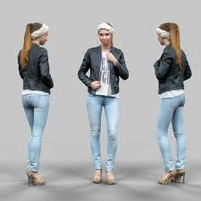 cute girl in jeans leather jacket and bandana low poly 3d model