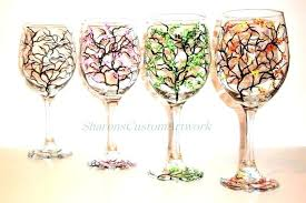 image 0 stained glass wine glasses how to paint 4 seasons hand painted set