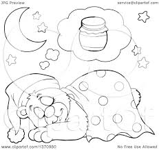 blanket clipart black and white. clipart of a cartoon black and white cute bear sleeping with blanket night cap, dreaming honey - royalty free vector illustration by visekart