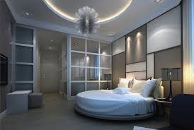 Multi-tone bedroom design in blue, grey and white with circular bed and  glass