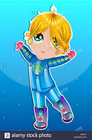 baby in an blue astronaut suit dancing blonde hair green eyes vector ilration