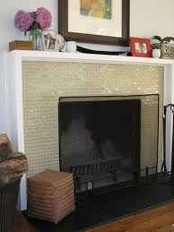 shadowbox mantel glass mosaic tile fireplace surround black stone slab for hearth