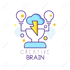 Design Process Brainstorming Colorful Linear Icon Design With Human Head Cloud And Light