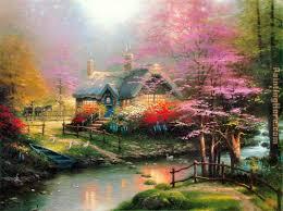 stepping stone cottage painting thomas kinkade stepping stone cottage art painting