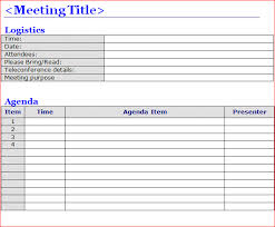 agenda template for word free meeting agenda templates
