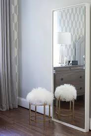 White Floating Wood Floor Mirror Contemporary Bedroom