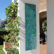 Outdoor basketball courts near me for a traditional deck with a wall mounted tv and trimmed to perfection by anthony wilder design/build, inc. Wall Art Made From Ceramic Mosaic Art Garden Wall Art Jungle Leaves