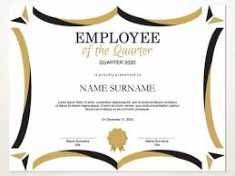Employee Of The Quarter Certificate Employee Of The Quarter Editable Template Editable Award Employee Of The Quarter Printable Template Pdf Instant Download D105