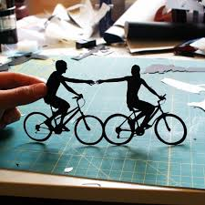 first anniversary gift paper couple on bikes 1