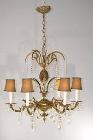 antique 6 arm french style bronze cut glass chandelier light fixture 1 of 9only 1 available