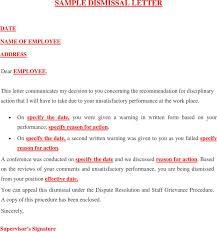 Sample Dismissal Letter 1 Dismissal Letter Template Free Download