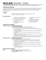 Nurse Assistant Resume Nursing Assistant Resume Samples Nurse