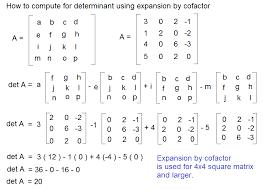 determinant calculation of 4 x 4 square matrix