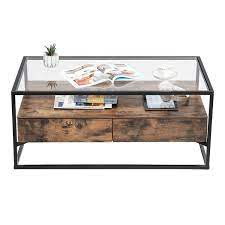 china glass coffee table with 2 drawers