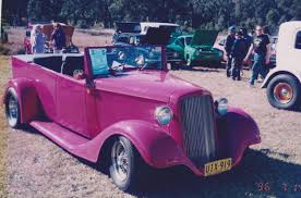 Fiberglass 1934 Chev Roadster Ute kit car.Mounted on a Japanese ...