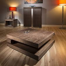large square coffee table in dark elm
