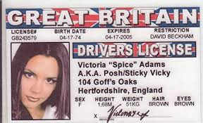 Spice com amp; Games License Fans d Aka Adams Fake Novelty I Victoria Amazon Posh Drivers Toys Girls The Identification Girl For