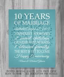 10 year anniversary gift print wedding anniversary luxury gift for 10 year wedding anniversary